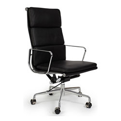 "Kardiel Classic 1969 Executive Soft Pad High Back Aluminum Office Chair, Black L - The iconic office chair series from which this Kardiel Executive Padded High Back reproduction takes its inspiration was originally developed in 1969. The seat and back support features a continuous section of upholstery stretched taut between two metal ribs. If it sounds similar to the 1958 lider series it is. The main difference is the individual ""floating"" cushion pads which are hand stitched onto the back and seat. The Mid Back version features a lower profile back height with 2 attached ""floating"" pads and 1 seat pad cushion added for additional comfort and support. None of the details were overlooked, from the distance of the ribbed stitching to the period correct Atomic metal ball of the height adjusting lever. We understand and offer you the intricacies of the original office series design in this quality reproduction."