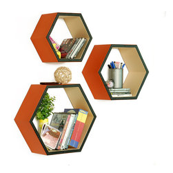 Blancho Bedding - [Lovey Dovey] Hexagon Leather Wall Shelf / Bookshelf / Floating Shelf (Set of 3) - These beautifully Hexagonal Shaped Wall Shelves display the art of woodworking and add a refreshing element to your home. Versatile in design, these leather wall shelves come in various colors and patterns. These elegant pieces of wall decor can be used for various purposes. It is ideal for displaying keepsakes, books, CDs, photo frames and so much more. Install as shown or you may separate the shelves to create a layout that suits your taste and your style. They spice up your home's decor, and create a multifunctional storage unit for all around your home.  Each box serves as a practical shelf, as well as a great wall decoration.