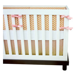 """Modified Tot - Baby Bedding Crib Set, Sparkles - All that glitters in gold, and this gold rush won't last long! This limited edition crib set features soft pink and gold, perfect for your princess. The three piece set includes bumpers with hand-stitched fabric ties and contrasting piping, a fitted sheet with elastic all the way around and a four-sided skirt with a 15"""" drop. Bumpers are created in six separate pieces for easy transition to a toddler bed, they measure 1"""" thick and 10"""" high. All items are proudly made in the USA. All products are made to order."""
