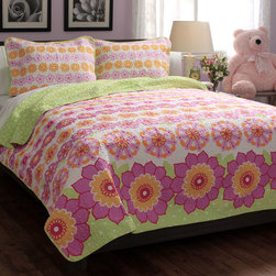 None - Summer Flowers Cotton Quilt Set - Dress up any room in bright color with this refreshing floral quilt set. Decorated with pink,green and yellow flowers,this machine washable quilt is created with soft cotton to bring both style and comfort to any bedroom decor.