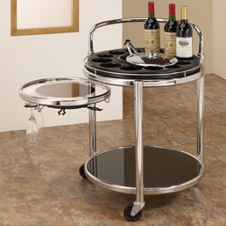 Coaster - Serving Cart, Black - This serving cart has it all: 12 bottle holders, an ice compartment and tongs, a slide-out tray with 6 stemware clips, a bottom shelf and wheels.