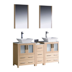 """Fresca - 60 Inch Double Sink Bathroom Vanity in Espresso, Light Oak, White Ceramic Vessel - Fresca is pleased to usher in a new age of customization with the introduction of its Torino line.  The frosted glass panels of the doors balance out the sleek and modern lines of Torino, making it fit perfectly in either Town or Country decor.  Available in the rich finishes of Espresso, Glossy White and Light Oak, all of the vanities in the Torino line come with either a ceramic vessel bowl or the option of a sleek modern ceramic undermount sink. Dimensions: 60""""W X 18.13""""D X 35.63""""H (Tolerance: +/- 1/2""""); Counter Top: White Ceramic ; Finish: Light Oak; Features: 4 Doors, 7 Drawers; Hardware: Chrome; Sink(s): 16"""" X 16"""" X 5"""" White Ceramic Vessel Sink; Faucet: Pre-Drilled for Standard Single Hole Faucet (Included); Assembly: Light Assembly Required - Item Ships in 3 Pieces; Large cut out in back for plumbing; Included: Cabinet, Sink, Choice of Faucet with Drain and Installation Hardware, Mirror (20.75""""W X 1.25""""D X 31.5""""H); Not Included: Backsplash"""