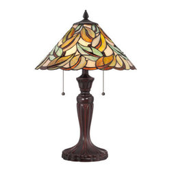 Quoizel Lighting - Quoizel TF1428T Tiffany 2 Light Table Lamp, Bronze - No green thumb required to enjoy the beauty of the organically inspired Gardner lamp. The Tiffany-style shade is comprised of 186 pieces of art glass that are copper-foiled using the same techniques developed by Louis Comfort Tiffany. A handsome Bronze patina on the base complements the neutral tones. The lamp stands 23 inches high and is lamped with two 75-watt, medium-base bulbs.