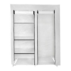 Florida Brands - 48 Inch Portable Closet in White - 48 Inch Portable closet , 5 fabric shelves, Durable frame, strong metal hanging bar, Improved cover strength, Breathable fabric cover to keeps clothes fresh, 2 Zippered front doors, Easy No tools assembly, measurers 62 x 48 x 20