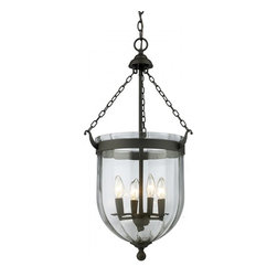 Joshua Marshal - Four Light Bronze Clear Glass Foyer Hall Pendant - Finish: Bronze