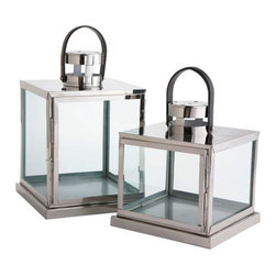 Square Glass Lanterns - A modern take on the hurricane lantern, these stainless steel and glass lanterns will protect your candles from the breeze and add a touch of romance to any table gathering.