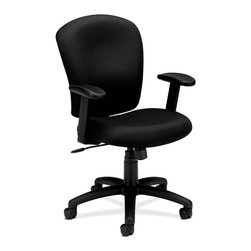 Rulers.com - basyx by HON VL220 Mid-Back Task Chair - Get down to business with a mid-back task chair ideal for any multipurpose office environment. The contoured seat cushions and waterfall seat edge reduce pressure points and increase comfort throughout the day. Personal comfort settings are easily controlled with the pneumatic seat height adjustment, height-adjustable padded arms, tilt, and tilt lock.