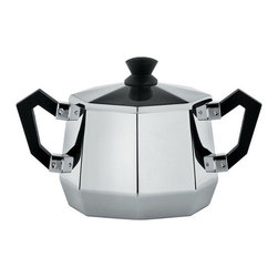 """Alessi - Alessi """"Ottagonale"""" Sugar Bowl - Need a little sugar in your bowl? Need a little sweetness down in your soul? This octagonal bowl has you covered. It's made of 18/10 grade stainless steel with two, sweet bakelite handles and a knob in soulful black."""