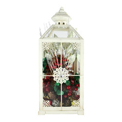 The Firefly Garden - Snowflake - Illuminated Floral Design - This arrangement will remind you of the first winter snow, sparkling with red and green accents in an antiqued white lantern. Snowflake is battery operated making it portable and easy to  explore a variety of decorative settings for the holiday season.