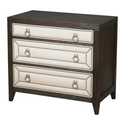 Ambella Home - Manhattan Night Stand - 3 Drawers - Graduate from tiny nightstands. These luxurious chests have room for your glasses, books, clock and anything else that helps you spend every minute in bed as happily as possible.