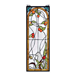 """Meyda - 9""""W X 25""""H Cat & Tulips Stained Glass Window - A solitary grey cat, silhouetted by ivory and apricottulips and blush colored peaches, with spring greenleaves sits against a rippling clear glass windowframed in honey accented with a flourish of lilac andteal. Handcrafted of stained glass with brass framewith brass mounting bracket. Chains are included."""