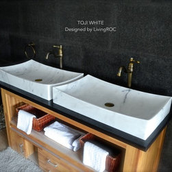 WHITE MARBLE 27-INCH STONE BATHROOM VESSEL SINK - TOJI WHITE - Reference: BB502EW-US