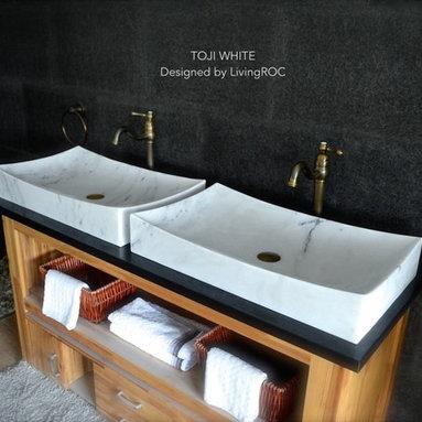 WHITE MARBLE 27-INCH STONE BATHROOM VESSEL SINK - TOJI WHITE - Reference: BB502EW-US