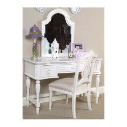 LC Kids - Reflections Vanity Table & Mirror Set in Antique Off White Finish - She'll feel like a real movie star as she sits at this lovely vanity table from the Victorian-inspired Reflections collection.  Feminine yet practical design includes three roomy drawers and a beveled-edge portrait mirror with an embellished arched-top frame.  Graceful fluted-leg base features three-sided stretchers for added strength and stability.  Crafted from hardwood solids and veneers in versatile antique white finish, this terrifically affordable set will delight ladies of all ages. Reflections Collection. Includes vanity table & mirror. Chair not included. Assembly required. Hardwood solids & veneers. Vanity table: 48 in. L x 20 in. W x 30 in. H (79.36 lbs.). Mirror: 25 in. L x 1 in. W x 32 in. H (15.43 lbs.