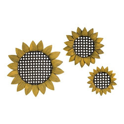 iMax - Sunflower Tray Wall Decor, Set of 3 - Perfect for your indoor garden space or country kitchen with the sunflower tray wall decor featuring a distinctive sunflower shape. This beautiful design will soon become a favorite part of your decor. Set of 3.