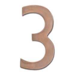 "Architectural Mailboxes - 5"" Floating House Number Antique Copper ""3"" - The�Solid Cast Brass 5"" Floating House Numbers�offer four classically elegant�finishes - antique brass, antique copper, satin nickel, and dark aged copper. Each house number is hand finished in a premium metallic finish. They can be mounted either flush with the wall or you can leave the mounting screws partially out of the holes for a floating number effect. No holes or unsightly screw heads are shown. The House Numbers compliment  Peninsula Mailboxes, Metropolis Mailboxes and the brass accents on Coronado Mailboxes.  Includes installation instructions and hardware."