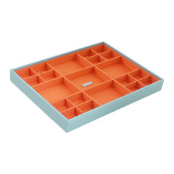 WOLF - Stackables Large Standard Tray, Aqua - A vibrant, colorful combination of jewelry and accessory storage trays. Available in purple, aqua, yellow, and orange with contrasting fabric lined interiors they're perfect for organizing all of your jewelry and accessories! Each piece is sold separately and is designed to be mixed, matched and stacked to meet your individual storage needs.