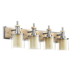 Quorum Lighting - Quorum Lighting Concord Transitional Bathroom / Vanity Light X-56-4-4605 - Keep your design simple with this Quorum Lighting Concord Transitional Bathroom/Vanity Light. It features a frame in sleek and shiny, satin nickel finish with a long, rectangular back plate and four clear glass shades. It's a beautiful, 33-inch-long piece which will look wonderful in any bathroom in your home.