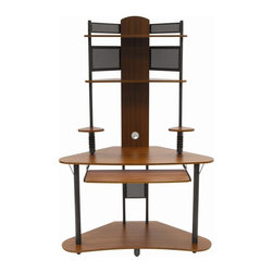 Calico Designs - Arch Tower - Pewter and Teak - 2 Speakers Shelves . 2 CD Storage with 5 Slots each . Floor Levelers for Uneven Surfaces. Metal / Wood Rear Panels for Stability . Overall Dimensions: 47.25 in. W x 25 in. D x 74 in. H. Main Work Surface: 47.25 in. W x 25 in. D. 2 Upper Shelves: 31.5 in. W x 11 in. D. 1 Lower Shelf: 47.25 in. W x 23.25 in. D . Slide Out Keyboard: 29 in. W x 11.75 in. D