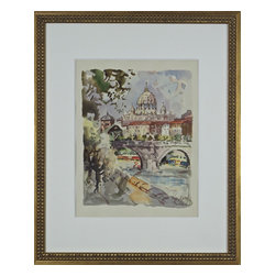 Watercolor Painting, Bridge in Rome, Italy - Original watercolor with vibrant colors and details of the famous bridge, Ponte Vittorio Emanuele II, in Rome, Italy. This beautiful bridge is on the Tiber River in Rome, Italy, connecting central Rome from an area west of the Vatican City.