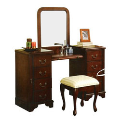 "Acme - 3-Piece Louis Philippe Large Bedroom Make Up Vanity Set with Mirror and Stool - 3-Piece Louis Phillipe large bedroom make up vanity set with mirror and stool. This set includes the vanity with 4 drawers on each side with side cabinets to store hanging jewelry and a center shelf with mirror and a stool. Vanity measures 54"" x 18"" x 33"" H. Mirror measures 25"" x 24"" H. Stool measures 19"" x 15"" x 17"" H. Some assembly required."