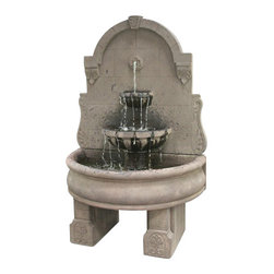 Bavarian Wall Fountain with Basin and Pedestals, New Ashtone - Need to give your outside scenery a touch of royal sophistication? With the Bavarian Wall Fountain with Plain Basin and Pedestals, you will finally have a way to make your outside setting stunningly appealing. It will surely get everyone's attention and be adored by your family for a lifetime.