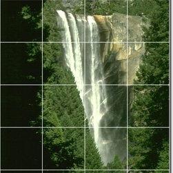 Picture-Tiles, LLC - Waterfalls Photo Ceramic Tile Mural 12 - * MURAL SIZE: 72x48 inch tile mural using (24) 12x12 ceramic tiles-satin finish.