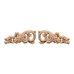 "Inviting Home - Marietta Large Scrolls Wood Carving - Maple (OY155L/OY155-14) - Carved wood scrolls in hard maple 6""H x 14-1/8""W x 1""D dimensions are for one side only sold as a pair of left and right carving Wood carvings are hand carved in deep relief design from premium selected North American hardwoods such as alder beech cherry hard maple red oak and white oak. They are triple sanded and ready to accept stain or paint. Hardwood carvings are perfect for wall applications finishing touches on the custom cabinets or creating a dramatic focal point on the fireplace mantel."