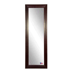Rayne Mirrors - American Made Espresso Stitched Leather 21.25 x 60.25 Slender Body Mirror - Hang this simply elegant Leather tall mirror in your space for a stylish accent piece that fits well into any decor. The design features a light decorative design in a rectangular shape with a espresso leather finish. Beautiful non beveled mirror glass sits behind the frame for a dash of luxury. Each Rayne mirror is hand crafted and made to order with American products.  All hardware included for vertical or horizontal hanging, or perfect to lean against a wall.