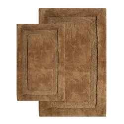"Chesapeake Merchandising - 2 Piece Olympia Bath Rug Set in Linen - Luxurious and Comforting bath rug.  The Olympia Collection adds luxury to any bathroom.  Spun from 100% Cotton.  This bath rug is plush under foot and comes in 4 colors to coordinate with your bathroom decor. Machine Tufted with anti skid spray latex back.  This bath rug set includes a 21""x34"" and 24""x40"" Bath Rug. Dimensions: 21""W X 34""L and 24""W X 40""L; Color: Linen; Material:  Cotton; Shape: Rectangular; Construction: Machine Tufted and Powerloom"