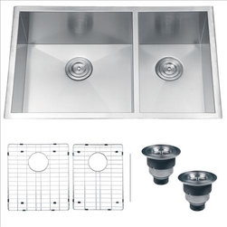 Ruvati - Ruvati RVH7515 Kitchen Sink Double Bowl - Sure to please any designer with an eye for purism, the Nesta series is defined by square bowls with sharp zero radius corners. The luxurious satin finish and heavy duty sound guard undercoating makes Nesta a perfect choice for your modern kitchen. Rear drain placement and elegant drain grooves add to the functionality of the sink.