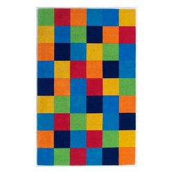 KAS - Kidding Around 416 Boys' Color Blocks Rug by Kas - 3 ft Round - The Kidding Around Collection from KAS features fun imaginative patterns made with soft plush wool. Made with bright vibrant colors, these rugs are great for any child's room and is arguably our most popular children's collection.