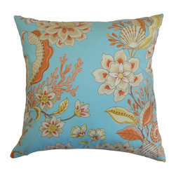 "The Pillow Collection - Mahanoro Floral Pillow Blue Orange - A bold floral pattern adorns this gorgeous accent pillow. Embed this decor pillow as a statement piece in your living room or bedroom for an enticing vibe. This square pillow provides texture and dimension when mixed with solids and patterns. This 18"" pillow complements most furniture pieces with its adequate size. Made from 100% plush and soft cotton material. Hidden zipper closure for easy cover removal.  Knife edge finish on all four sides.  Reversible pillow with the same fabric on the back side.  Spot cleaning suggested."