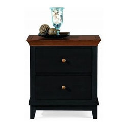 """American Drew 181-420BC Drawer Night Stand - Black w/ Cherry Top Sterling Pointe - Drawer Night Stand - Black w/ Cherry Top - American Drew Sterling Pointe Collection 181-420BCFeatures:2 DrawersThis Price Includes:Drawer Night Stand - Black w/ Cherry TopItem:Weight:Dimensions:Drawer Night Stand - Black w/ Cherry Top66 lbs26"""" W X 17"""" D X 28"""" HManufacturer's Materials:Maple and Hardwood SolidsMaple & Poplar Veneers & Simulated Wood Components"""
