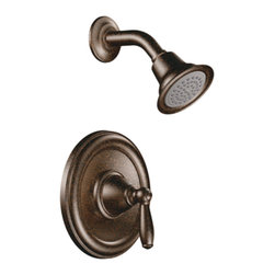 "Moen - Moen T2152ORB Oil Rubbed Bronze Posi-Temp Shower Valve Trim 1-Function Cartridge - Moen T2152ORB is part of the Brantford bath collection. Moen T2152ORB is a new bathroom decor style by Moen. Moen T2152ORB has an Oil Rubbed Bronze finish. Moen T2152ORB Posi-Temp Shower valve only trim fits any MPact common valve system or MPact Posi-Temp 1/2"" valve available separately. Moen T2152ORB is part of the Brantford bath collection, featuring its beautiful look and timeless appeal. This collections traditional style complements any homes decor. Moen T2152ORB Shower valve trim includes single-function pressure balancing Cartridge. Back to back capability. Moen T2152ORB is a single handle shower valve trim only, the handle adjusts temperature. Moen T2152ORB valve only single handle trim provides for ease of operation. Moen T2152ORB Posi-Temp pressure balancing valve maintains water pressure and controls temperature. Moen T2152ORB includes Easy Clea"" xLT single function showerhead 2.5 GPM max. Moen T2152ORB is ADA approved. Oil Rubbed Bronze is an exclusive finish from Moen and provides style and durability. Moen T2152ORB metal lever handle meets all requirements ofADA ICC/ANSI A117.1 and CSA to meet CSA B-125, ASME A112.18.1 M. Lifetime Limited Warranty."