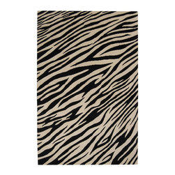 Zebroid Rug - A zebroid is a term for any zebra hybrid; this hand-knotted 100% wool rug is a hybrid of urban cool and safari exotic. Pull together a tight space with the best of both.