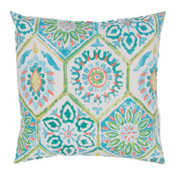 "Jaipur Rugs - Blue/Green color polyester od summer breeze poly fill pillow 18""x18"" - These fashion forward pillows, in trellis, stripes and whimsical patterns are for both indoor and outdoor use."