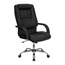 Flash Furniture - Flash Furniture High Back Black Leather Executive Office Chair - This leather office chair is not only economical but very comfortable and attractive. The sleeved padded arms highlights the chairs features along with the vertical line tufting in between the seat and back cushions. Get an upgrade on your home or office seating with this leather executive chair.