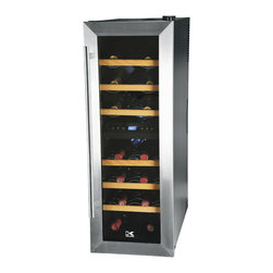 Kalorik - 21-bottle Wine Refrigerator - Storing wine correctly is so important when you've invested in a few special bottles. You want to be sure your reds and your whites are chilling at their own custom temperatures. This dual-zone cooler keeps 21 bottles safe in a super stylish design.