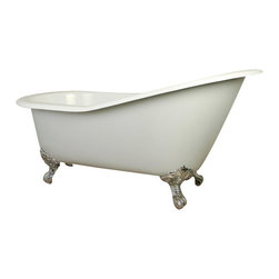 Kingston Brass - 61-Inch Cast Iron Tub with Feet - This clawfoot tub features a long 61in. white cast iron body with a sloped backrest constructed on one end like a slipper. The shape of the tub provides ample space allowing one to recline using the deeper end as placement for the upper body for a full-body submersion in the bath. The white porcelain enamel is durable and easy to clean utilizing a soft cloth and detergent.