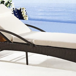 Fine Mod Imports - Sun Outdoor Chaise Lounge - Includes water resistant and padded cushion. Contemporary style. Rust-free, powder-coated aluminum frame. Warranty: One year. Made from UV resistant wicker. Brown color. No assembly required. 75 in. L x 28 in. W x 14 in. H (50 lbs.)Two position wicker outdoor lounge chair, looks beautiful on your deck, the perfect place to relax and enjoy.