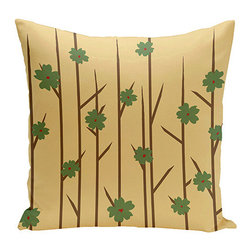 e by design - Floral Branches Beige 20-Inch Cotton Decorative Pillow - - Decorate and personalize your home with coastal cotton pillows that embody color and style from e by design   - Fill Material: Synthetic down  - Closure: Concealed Zipper  - Care Instructions: Spot clean recommended  - Made in USA e by design - CPO-NR5-Branches_Flowers_Bamboo-20