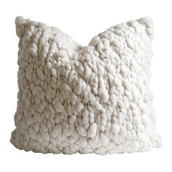 "Homelosophy - Clouds Pillow - Volumes of chunky superfine merino wool yarn have been loosely hand knitted together into big chunky knots that resemble small fluffy clouds. Backed with white natural linen and finished with a hidden zipper closure - this really is a super chic piece finished to ensure the highest quality, softness and comfort. Raw material: 100% hand spun superior merino wool front Pattern & Color: Chunky knitted throw pillow – Natural ivory wool Size: 24"" x 24"" Pillow insert included"