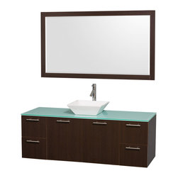 Wyndham Collection - Bathroom Vanity Set with Porcelain Sink in Espresso Finish - Includes mirror, sink, drain assemblies and P-traps for easy assembly. Faucets not included. Two functional doors. Four functional drawers. Plenty of storage space. Metal exterior hardware with brushed chrome finish. Single-hole faucet mount. Eight stage preparation, veneering and finishing process. Highly water-resistant low V.O.C. sealed finish. Unique and striking contemporary design. Modern wall-mount design. Deep doweled drawers. Fully extending soft-close drawer slides. Engineered for durability and to prevent warping and last a lifetime. Made from veneers and highest quality grade E1 MDF. Mirror: 58 in. W x 33 in. H. Vanity: 60 in. L x 22.25 in. W x 21.25 in. H. Care Instructions. Assembly Instructions - Vanity. Assembly Instructions - MirrorModern clean lines and a truly elegant design aesthetic meet affordability in the Wyndham Collection. The attention to detail on this elegant contemporary vanity is unrivalled.