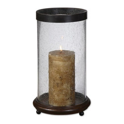 Matthew Williams - Matthew Williams Layla Transitional Candle Holder X-34291 - Antiqued, hickory finished wood base with clear, bubbled glass and olive bronze metal rim. Antiqued candle included.