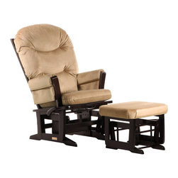 Dutailier - Dutailier Modern Glider and Ottoman Set in Espresso and Light Brown - Dutailier - Gliders & Rockers - C0184A693091 - About This Product: Perfect for rocking baby to sleep, watch TV or read, this Modern glider and ottoman combo offers an exceptionally smooth and extra long glide motion with thick cushions and padded arms. The mechanism locks the glider in 6 different positions and makes it easier to sit in or step out of the glider. The combination of its contemporary design and espresso finish will add value to any room. There are no sharp edges, the finish is toxic free and this product meets all safety standards.