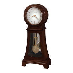 HOWARD MILLER - Howard Miller Gerhard Contemporary Triple Chime Pendulum Mantel Clock - Finished in Chocolate on select hardwoods and veneers, this contemporary wooden sofa table clock features a mirrored back panel and plain glass in the lower door.