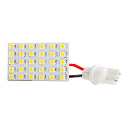 30 High Power LED Rectangle PCB Lamp w/ Wedge Base - Rectangle type Universal Lamp with 30 High Power 3528SMD LEDs. Mates with included 194/168(T3-1/4) Miniature Wedge Base. 10~30VDC operating voltage range. Produces 150 lumen at 6300K/3100K, 120 degree beam pattern. 1.65 inch x .92 inch, Male connector with 1.5 inch power wire. Also available with BA9s, BA15S(1156), Any size Festoon type Mating Base. Price per bulb. Most vehicle applications required 2 bulbs.