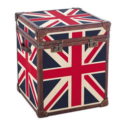 Trunk Flag - Despite my lack of British blood, I'm surprisingly fond of the Union Jack. What can I say? It's hard to resist the graphic style and history of the classic emblem. Here it gets worked into the design of this storage trunk, which would be perfect for holding extra blankets of books.