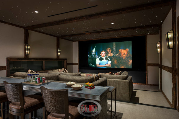 Rustic Home Theater by Red Rock Pools and Spas and Red Rock Contractors